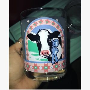 Two Glass Drinking Cups-Portrait of Betsy the Cow